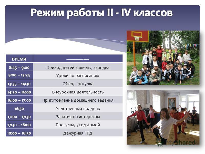 ВРЕМЯ--------------------- 8:45 – 9:00Приход детей в школу, зарядка 9:00 – 13:35 Уроки по расписанию 13:35 – 14:30Обед, прогулка 14:30 – 16:00Внеурочная деятельность 16:00 – 17:00Приготовление домашнего задания 16:30Уплотненный полдник 17:00 – 17:30З