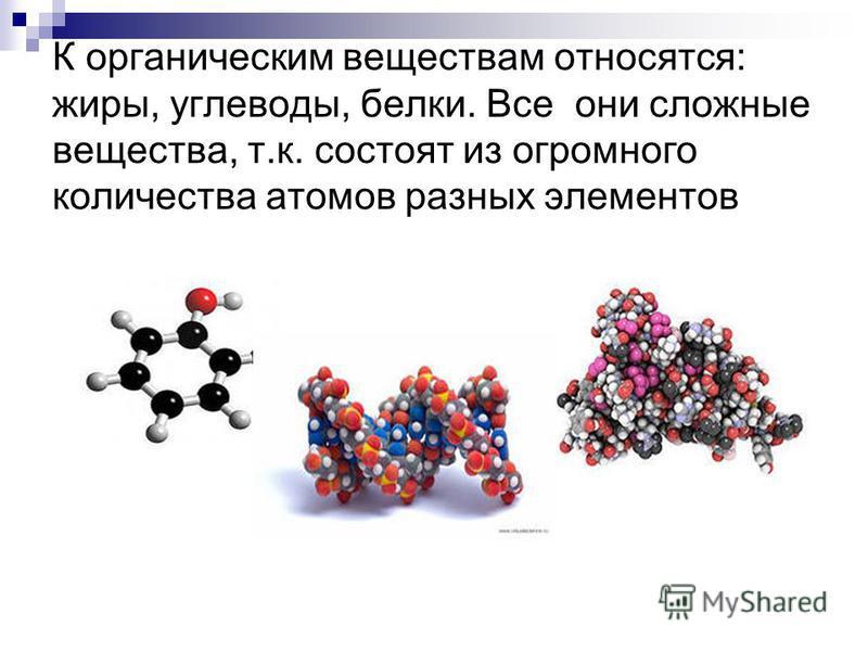 К органическим веществам относятся: жиры, углеводы, белки. Все они сложные вещества, т.к. состоят из огромного количества атомов разных элементов