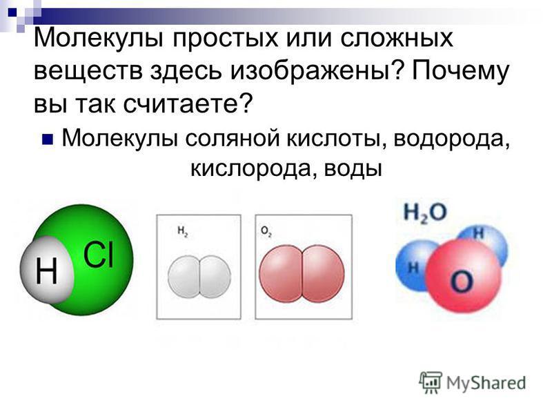 Молекулы простых или сложных веществ здесь изображены? Почему вы так считаете? Молекулы соляной кислоты, водорода, кислорода, воды