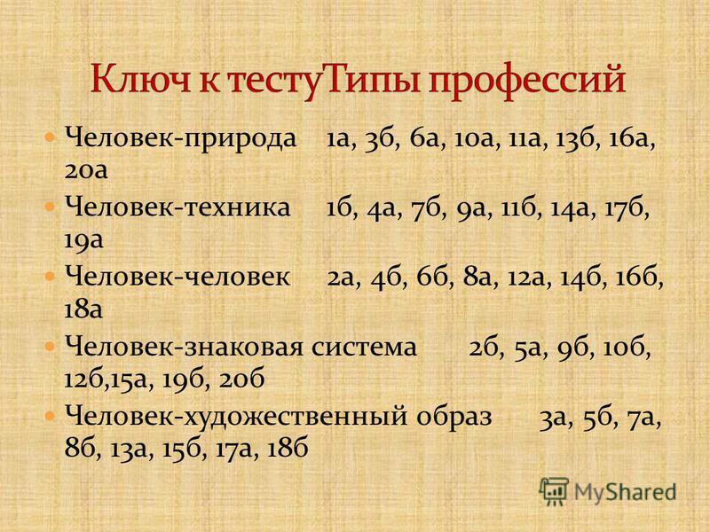 Человек-природа 1 а, 3 б, 6 а, 10 а, 11 а, 13 б, 16 а, 20 а Человек-техника 1 б, 4 а, 7 б, 9 а, 11 б, 14 а, 17 б, 19 а Человек-человек 2 а, 4 б, 6 б, 8 а, 12 а, 14 б, 16 б, 18 а Человек-знаковая система 2 б, 5 а, 9 б, 10 б, 12 б,15 а, 19 б, 20 б Чело