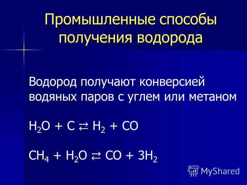 Промышленные способы получения водорода Водород получают конверсией водяных паров с углем или метаном H 2 O + C H 2 + CO CH 4 + H 2 O CO + 3H 2