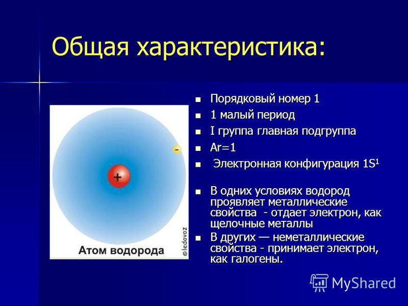 Общая характеристика: Порядковый номер 1 Порядковый номер 1 1 малый период 1 малый период I группа главная подгруппа I группа главная подгруппа Ar=1 Ar=1 Электронная конфигурация 1S 1 Электронная конфигурация 1S 1 В одних условиях водород проявляет м