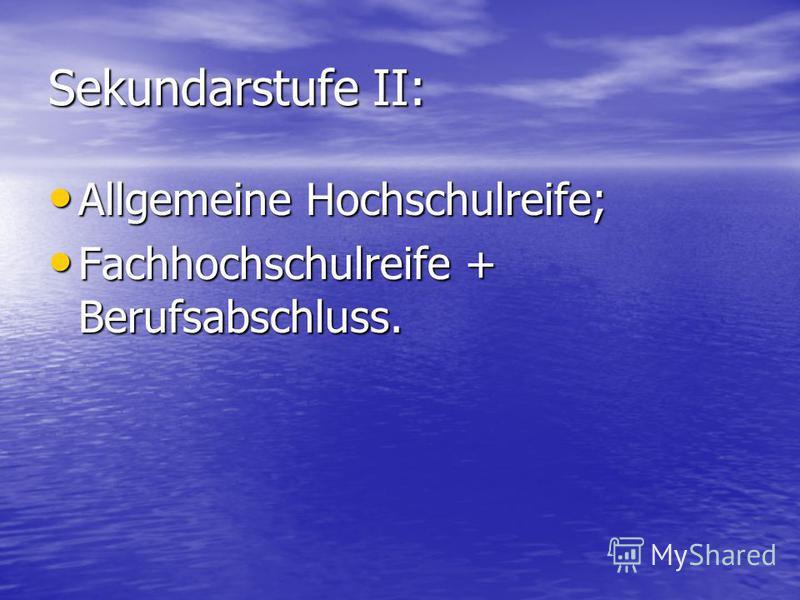 Sekundarstufe II: Allgemeine Hochschulreife; Allgemeine Hochschulreife; Fachhochschulreife + Berufsabschluss. Fachhochschulreife + Berufsabschluss.