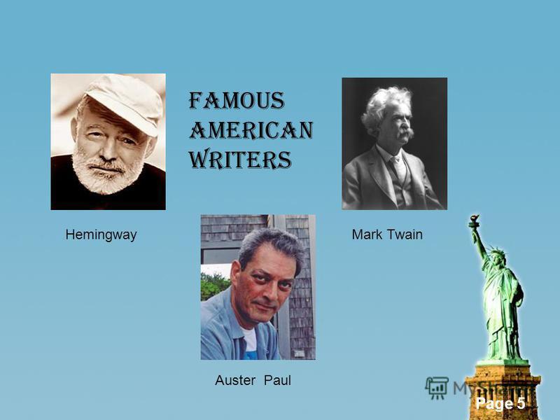 Page 5 HemingwayMark Twain Auster Paul FAMOUS AMERICAN WRITERS