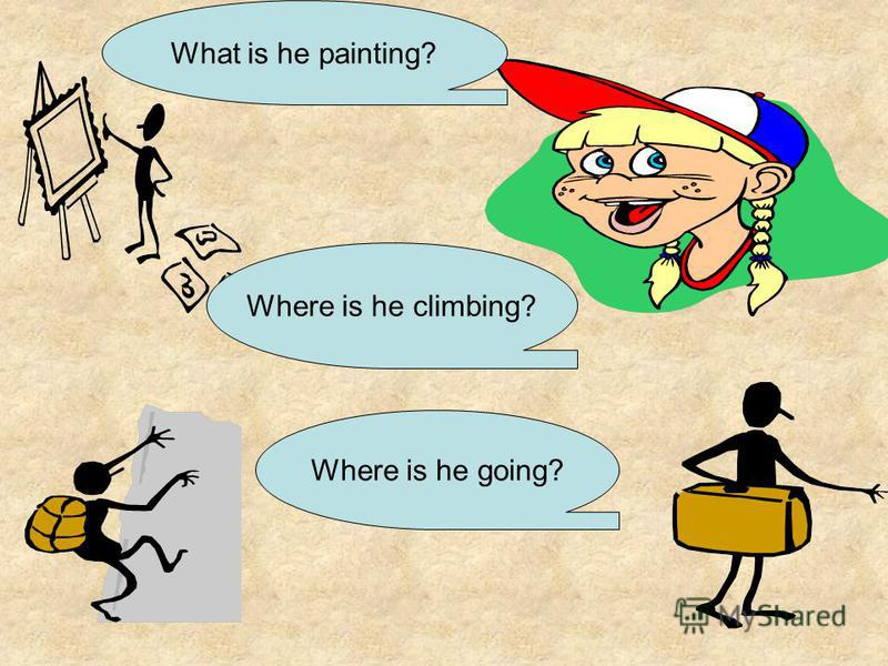 What is he painting? Where is he climbing? Where is he going?