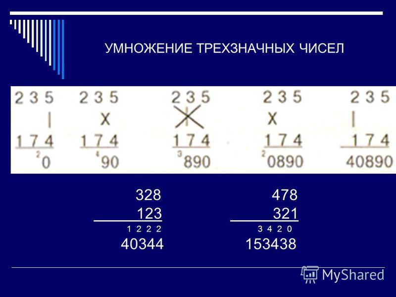 УМНОЖЕНИЕ ТРЕХЗНАЧНЫХ ЧИСЕЛ 328 478 123 321 1 2 2 2 3 4 2 0 40344 153438
