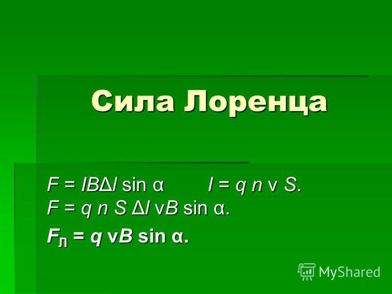 Сила Лоренца F = IBΔl sin α I = q n v S. F = q n S Δl vB sin α. FЛ = q vB sin α.
