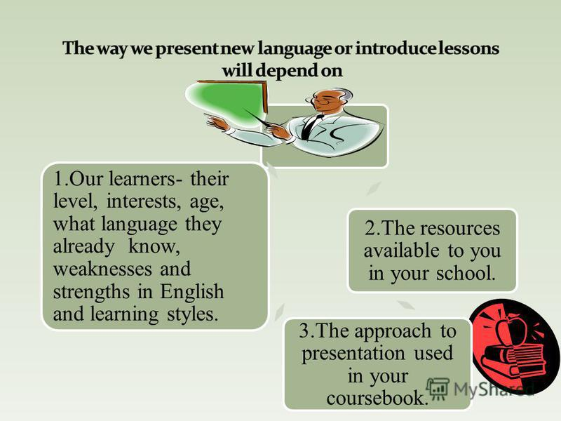 2.The resources available to you in your school. 3.The approach to presentation used in your coursebook. 1.Our learners- their level, interests, age, what language they already know, weaknesses and strengths in English and learning styles.