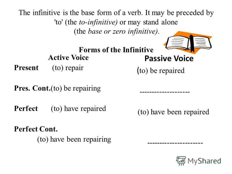 The infinitive is the base form of a verb. It may be preceded by 'to' (the to-infinitive) or may stand alone (the base or zero infinitive). Forms of the Infinitive Active Voice Present (to) repair Pres. Cont.(to) be repairing Perfect (to) have repair