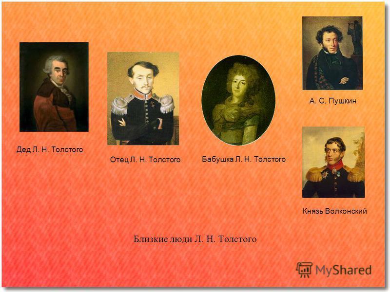 Близкие люди Л. Н. Толстого Дед Л. Н. Толстого Отец Л. Н. Толстого Бабушка Л. Н. Толстого А. С. Пушкин Князь Волконский