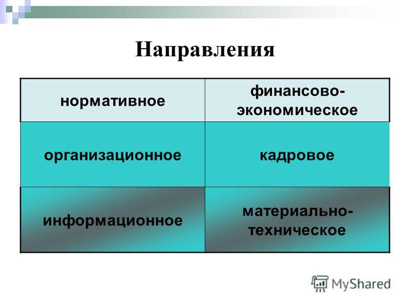 Направления нормативное финансово- экономическое организационное кадровое информационное материально- техническое