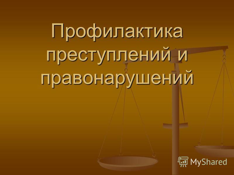 Профилактика преступлений и правонарушений