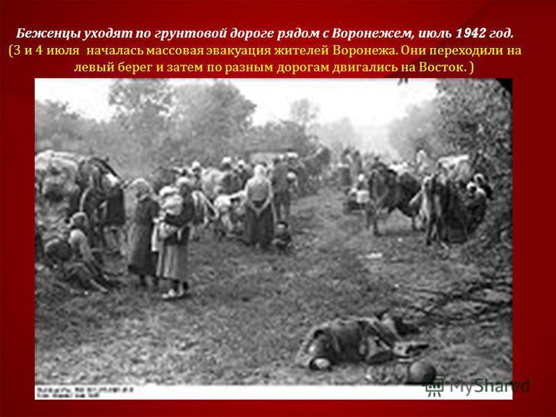 Беженцы уходят по грунтовой дороге рядом с Воронежем, июль 1942 год. (3 и 4 июля началась массовая эвакуация жителей Воронежа. Они переходили на левый берег и затем по разным дорогам двигались на Восток. )