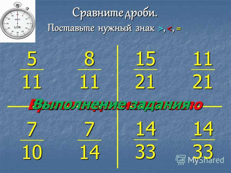 Время задания истекло Выполнение задания 5 11 8 11 Сравните дроби. Поставьтенужный знак >,, <, = 15 21 11 21 7 10 7 14 14 33