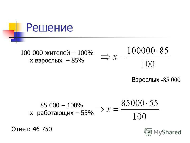 Решение 100 000 жителей – 100% х взрослых – 85% Взрослых -85 000 85 000 – 100% х работающих – 55% Ответ: 46 750