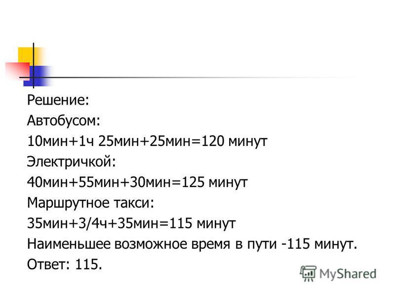 Решение: Автобусом: 10 мин+1 ч 25 мин+25 мин=120 минут Электричкой: 40 мин+55 мин+30 мин=125 минут Маршрутное такси: 35 мин+3/4 ч+35 мин=115 минут Наименьшее возможное время в пути -115 минут. Ответ: 115.