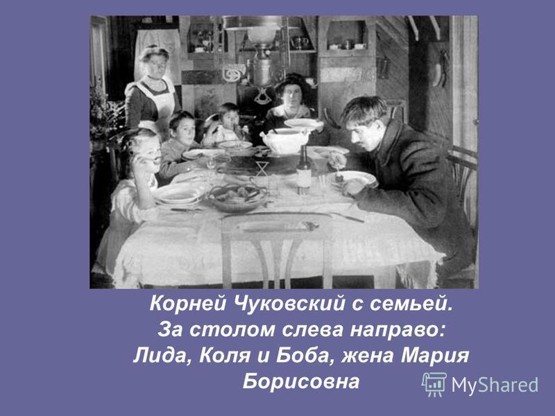 Корней Чуковский с семьей. За столом слева направо: Лида, Коля и Боба, жена Мария Борисовна