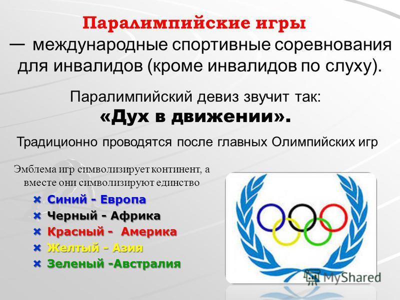 Паралимпийские игры международные спортивные соревнования для инвалидов (кроме инвалидов по слуху). Традиционно проводятся после главных Олимпийских игр Эмблема игр символизирует континент, а вместе они символизируют единство Паралимпийский девиз зву