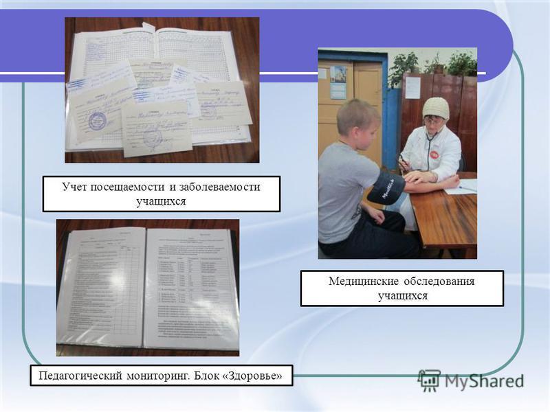 Учет посещаемости и заболеваемости учащихся Педагогический мониторинг. Блок «Здоровье» Медицинские обследования учащихся