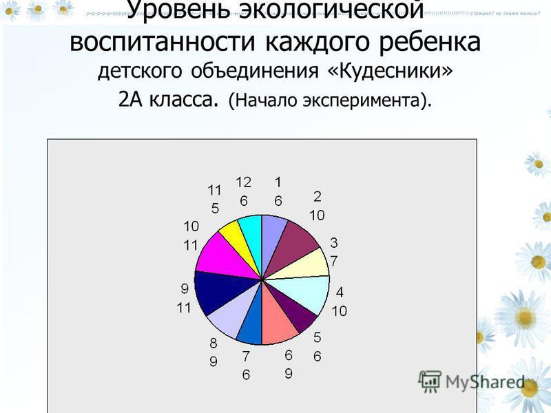 Уровень экологической воспитанности каждого ребенка детского объединения «Кудесники» 2А класса. (Начало эксперимента).