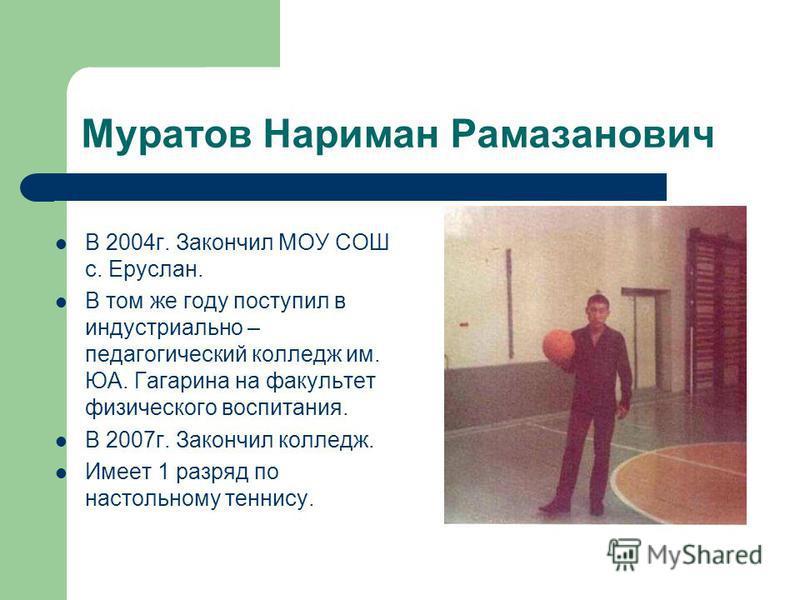 Муратов Нариман Рамазанович В 2004 г. Закончил МОУ СОШ с. Еруслан. В том же году поступил в индустриально – педагогический колледж им. ЮА. Гагарина на факультет физического воспитания. В 2007 г. Закончил колледж. Имеет 1 разряд по настольному теннису
