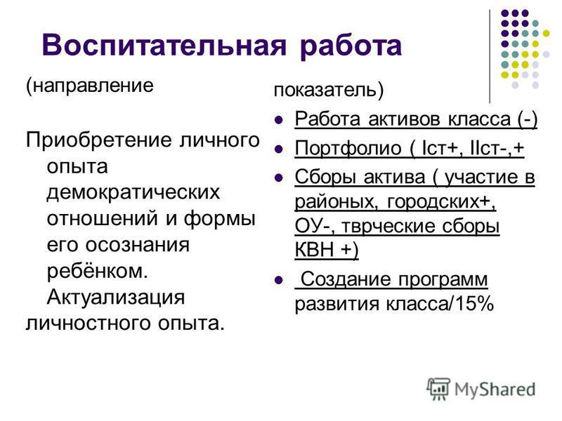 Воспитательная работа (направление Приобретение личного опыта демократических отношений и формы его осознания ребёнком. Актуализация личностного опыта. показатель) Работа активов класса (-) Портфолио ( Iст+, IIст-,+ Сборы актива ( участие в районных,
