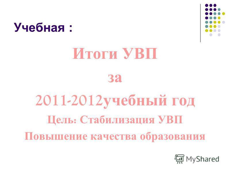 Учебная : Итоги УВП за 2011-2012 учебный год Цель : Стабилизация УВП Повышение качества образования