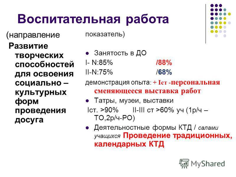 Воспитательная работа (направление Развитие творческих способностей для освоения социально – культурных форм проведения досуга показатель) Занятость в ДО I- N:85%/88% II-N:75%/68% демонстрация опыта : + Iст - персональная сменяющееся выставка работ Т