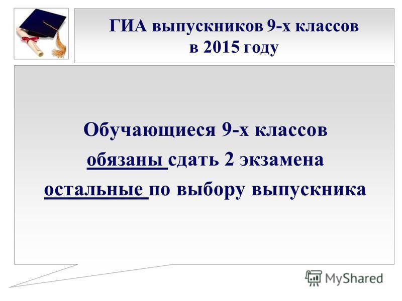 ГИА выпускников 9-х классов в 2015 году Обучающиеся 9-х классов обязаны сдать 2 экзамена остальные по выбору выпускника