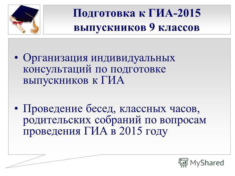 Подготовка к ГИА-2015 выпускников 9 классов Организация индивидуальных консультаций по подготовке выпускников к ГИА Проведение бесед, классных часов, родительских собраний по вопросам проведения ГИА в 2015 году