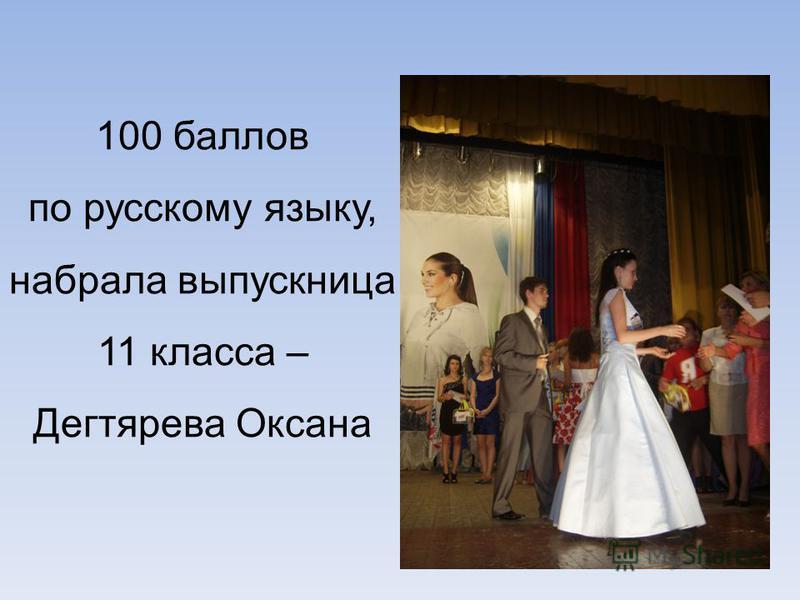100 баллов по русскому языку, набрала выпускница 11 класса – Дегтярева Оксана