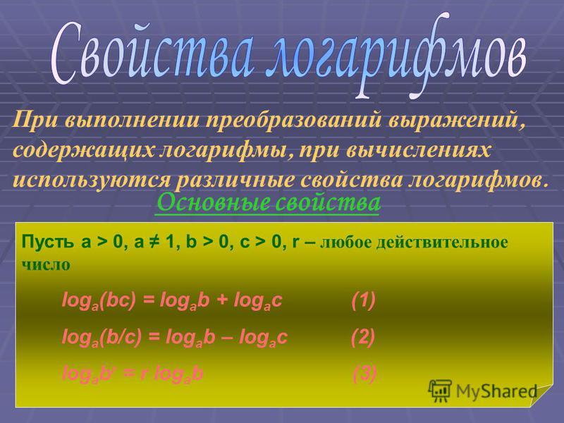 При выполнении преобразований выражений, содержащих логарифмы, при вычислениях используются различные свойства логарифмов. Основные свойства Пусть a > 0, a 1, b > 0, c > 0, r – любое действительное число log a (bc) = log a b + log a c (1) log a (b/c)