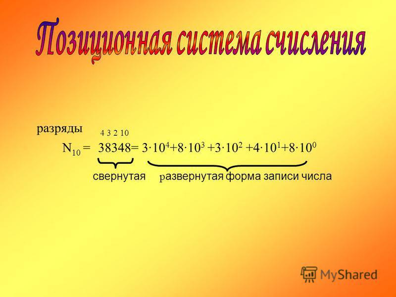 разряды 4 3 2 10 N 10 =38348= 310 4 +810 3 +310 2 +410 1 +810 0 свернутая развернутая форма записи числа