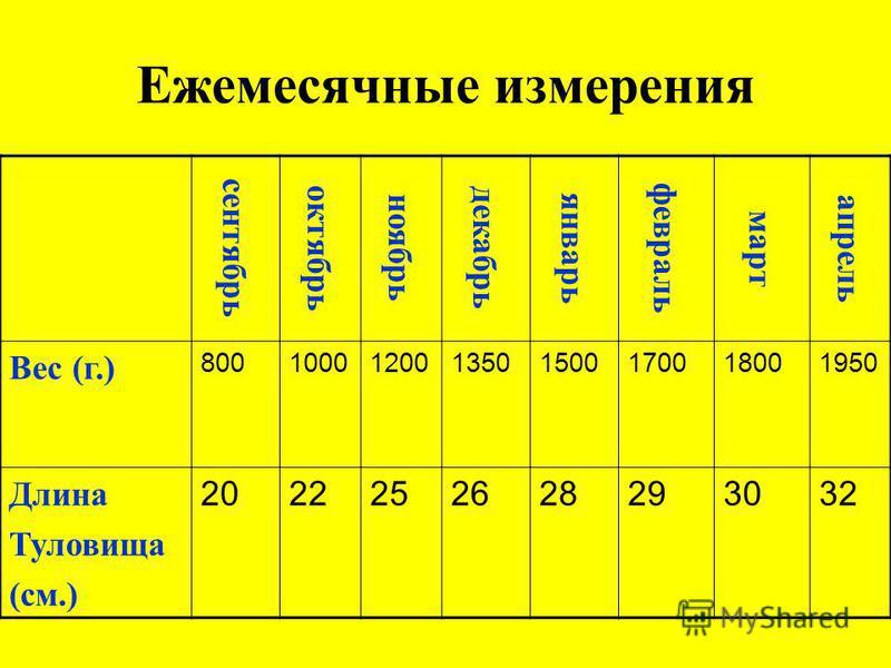 Ежемесячные измерения сентябрь октябрь ноябрь декабрь январь февраль март апрель Вес (г.) 8001000120013501500170018001950 Длина Туловища (см.) 2022252628293032