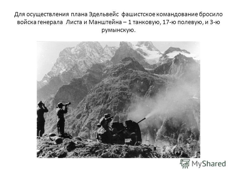 Для осуществления плана Эдельвейс фашистское командование бросило войска генерала Листа и Манштейна – 1 танковую, 17-ю полевую, и 3-ю румынскую.