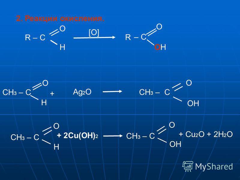 – C OH 2. Реакции окисления. R – C O O H [О] R CH 3 – C O H + Ag 2 O O H CH 3 – C O OH CH 3 – C + 2Cu(OH) 2 O OH + Cu 2 O + 2H 2 O