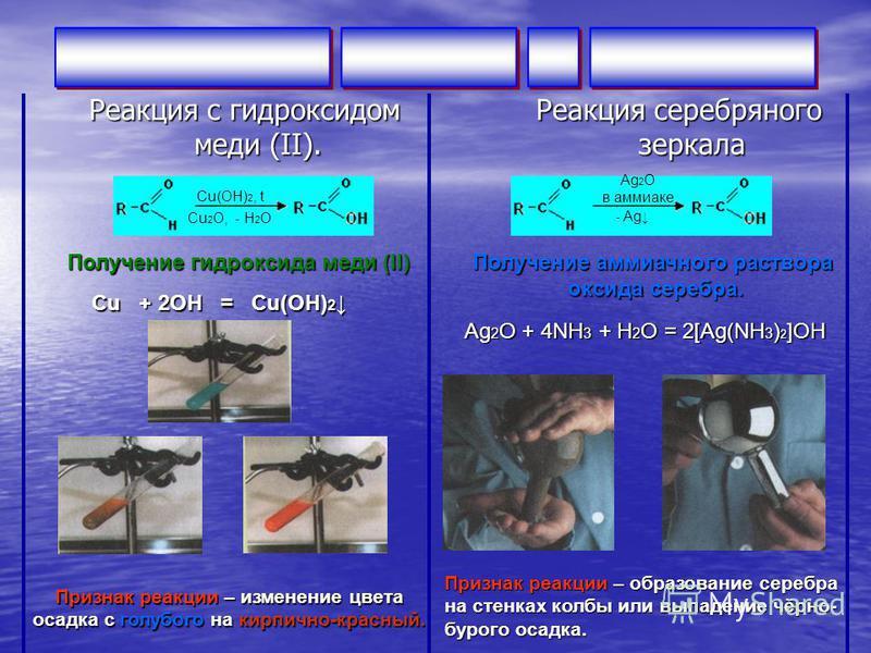 Реакция c гидроксидом меди (II). Реакция серебряного зеркала Сu(OH) 2, t Cu 2 O, - H 2 O Ag 2 O в аммиаке - Ag Получение гидроксида меди (II) Сu + 2ОН = Сu(ОН) 2 Сu + 2ОН = Сu(ОН) 2 Признак реакции – изменение цвета осадка с голубого на кирпично-крас