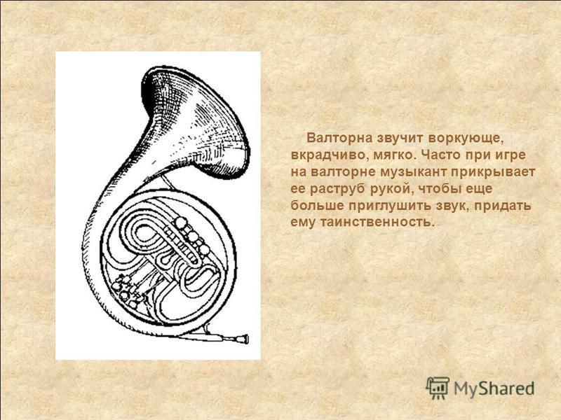 Валторна звучит воркующие, вкрадчиво, мягко. Часто при игре на валторне музыкант прикрывает ее раструб рукой, чтобы еще больше приглушить звук, придать ему таинственность.