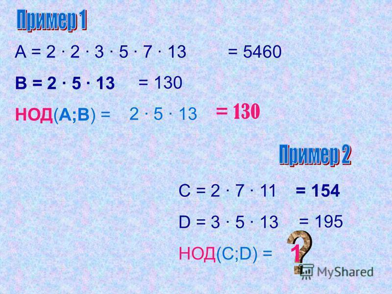 Найдите НОД чисел: НОД (81; 54) = НОД (27; 45; 63) = НОД (40; 52; 92; 36) = 27 9 4
