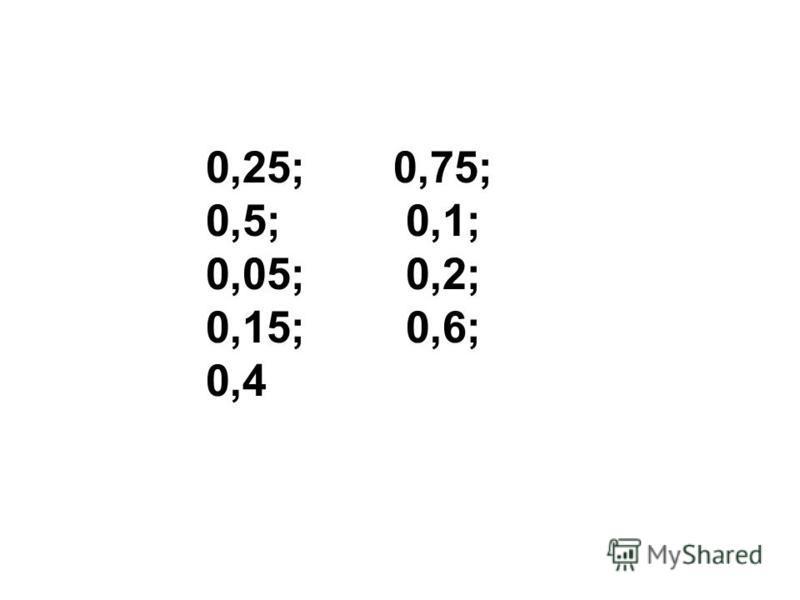 0,25; 0,75; 0,5; 0,1; 0,05; 0,2; 0,15; 0,6; 0,4