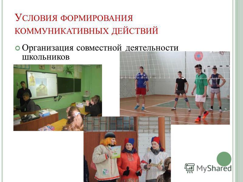 У СЛОВИЯ ФОРМИРОВАНИЯ КОММУНИКАТИВНЫХ ДЕЙСТВИЙ Организация совместной деятельности школьников