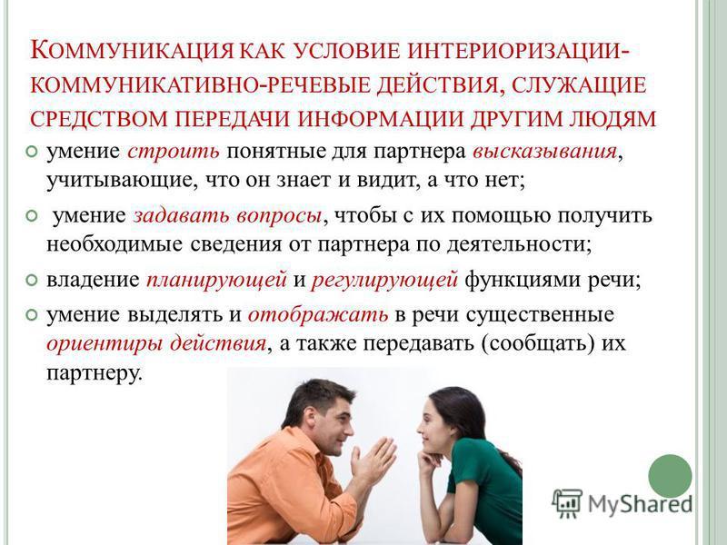 К ОММУНИКАЦИЯ КАК УСЛОВИЕ ИНТЕРИОРИЗАЦИИ - КОММУНИКАТИВНО - РЕЧЕВЫЕ ДЕЙСТВИЯ, СЛУЖАЩИЕ СРЕДСТВОМ ПЕРЕДАЧИ ИНФОРМАЦИИ ДРУГИМ ЛЮДЯМ умение строить понятные для партнера высказывания, учитывающие, что он знает и видит, а что нет; умение задавать вопросы