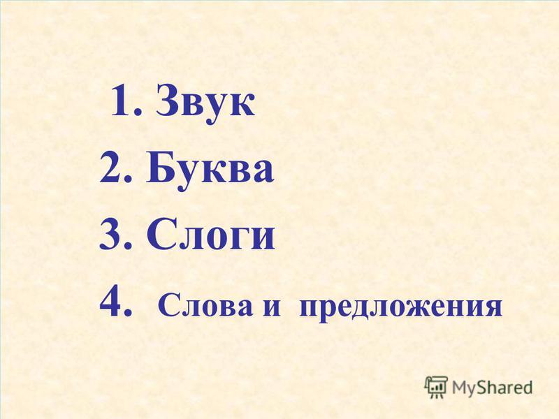 1. Звук 2. Буква 3. Слоги 4. Слова и предложения