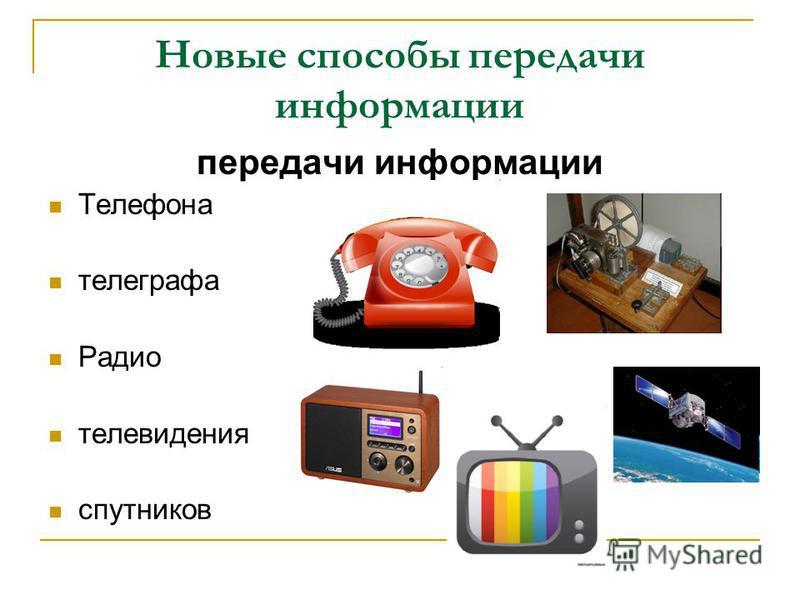 Новые способы передачи информации передачи информации Телефона телеграфа Радио телевидения спутников