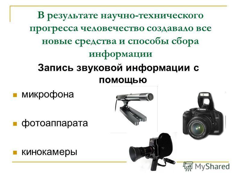 В результате научно-технического прогресса человечество создавало все новые средства и способы сбора информации Запись звуковой информации с помощью микрофона фотоаппарата кинокамеры