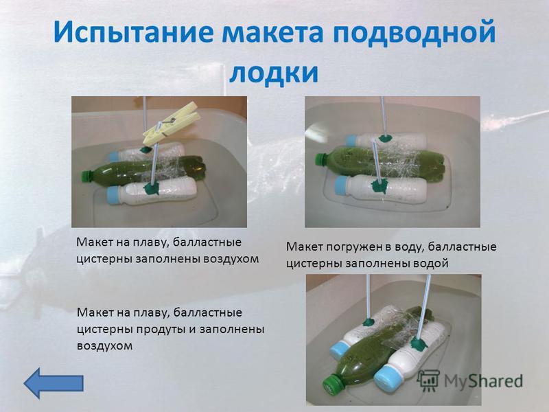 Макет на плаву, балластные цистерны заполнены воздухом Макет погружен в воду, балластные цистерны заполнены водой Макет на плаву, балластные цистерны продуты и заполнены воздухом Испытание макета подводной лодки