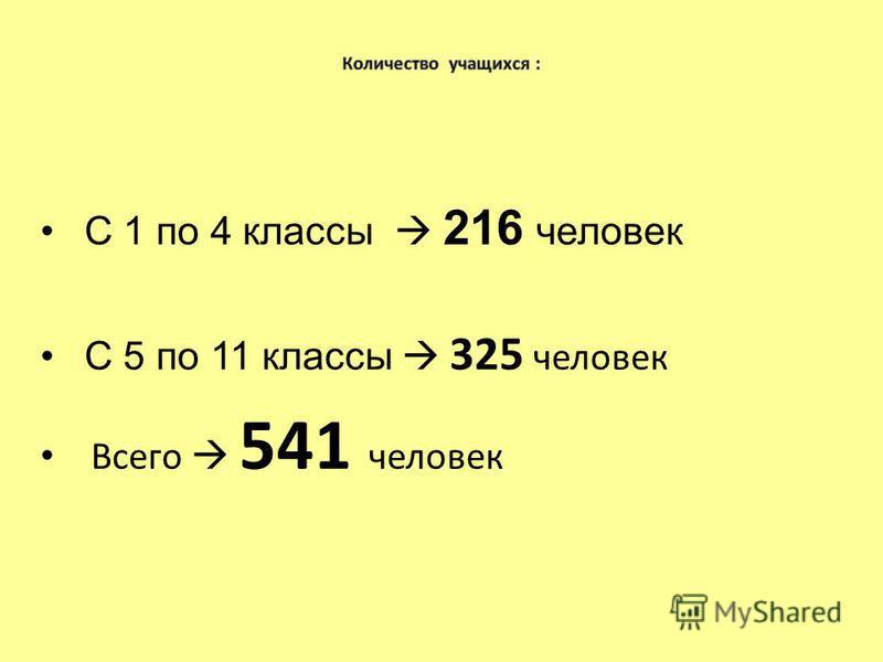 С 1 по 4 классы 216 человек С 5 по 11 классы 325 человек Всего 541 человек