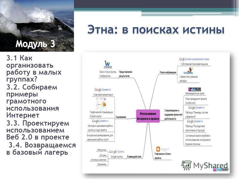 3.1 Как организовать работу в малых группах? 3.2. Собираем примеры грамотного использования Интернет 3.3. Проектируем использованием Веб 2.0 в проекте 3.4. Возвращаемся в базовый лагерь