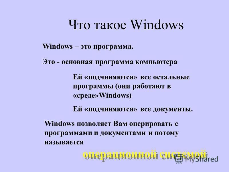 Что такое Windows Windows – это программа. Это - основная программа компьютера Ей «подчиняются» все остальные программы (они работают в «среде»Windows) Ей «подчиняются» все документы. Windows позволяет Вам оперировать с программами и документами и по