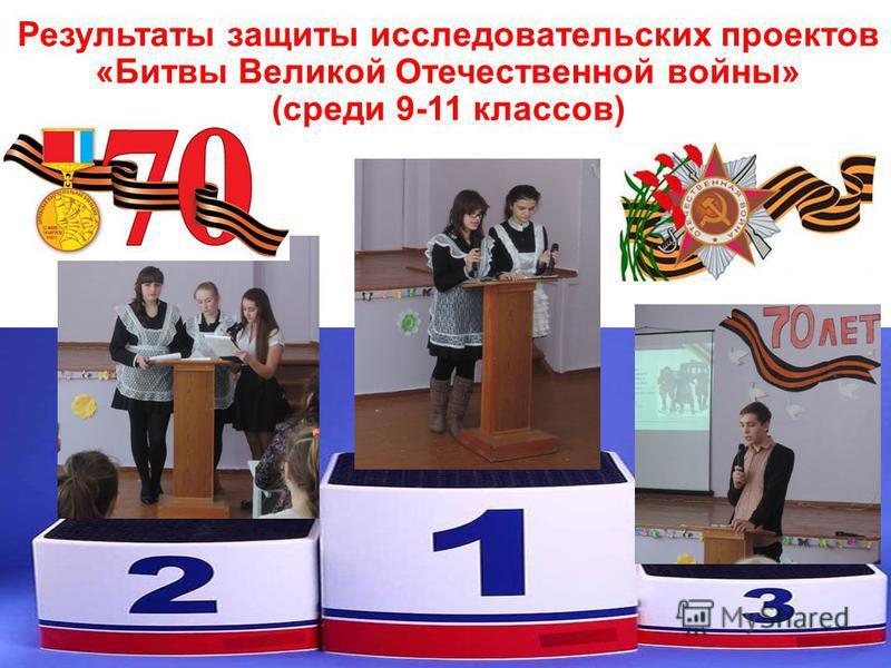 Результаты защиты исследовательских проектов «Битвы Великой Отечественной войны» (среди 9-11 классов)